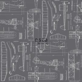 College Constructietekening van vliegtuigen grijs 128813