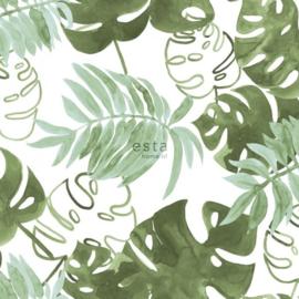 Esta Greenhouse tropische jungle bladeren vergrijsd olijf groen 138888