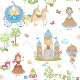 Prinsessen behang groen bruin roze 142