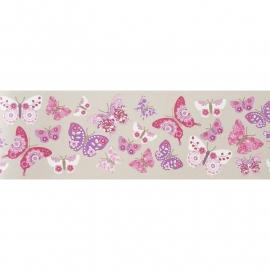 037. Caselio Vlinderrand in paars/roze/grijs