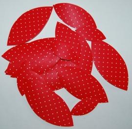 Behangblaadjes rood met witte stipje