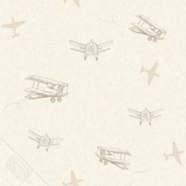 Vliegtuigen behang beige bruin
