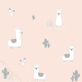Lama behang met cactus roze
