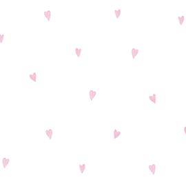 Hartjesbehang roze zilver 12581
