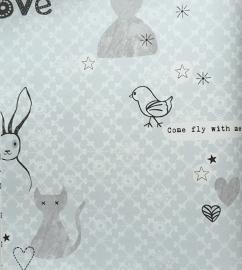 Onszelf Fantasiebehang met konijn-vogel schaapje in grijs zwart wit blauw OZ 3251