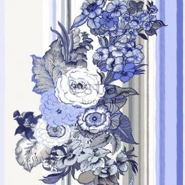 025. Esta Home Streepbehang met bloemenmotief in blauw/bruin/crème