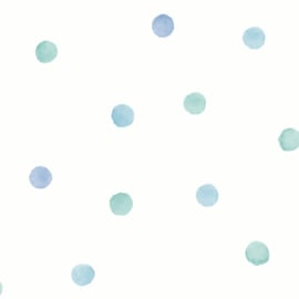 Watercolour Polka Dots 91001 Blauw Groen