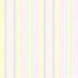 Streepbehang pastel geel groen roze blauw zand 121