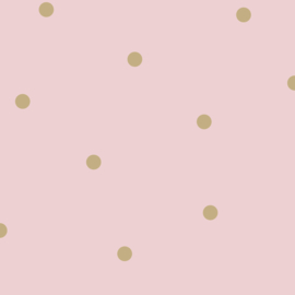 Stippenbehang roze goud 12604