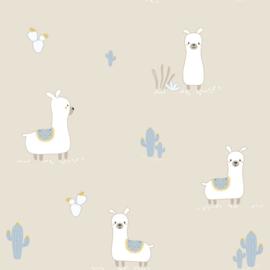 Lama behang met cactus beige
