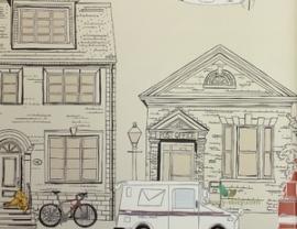 Behangrand met huizen en voertuigen creme 351767 Eijffinger Hits for kids