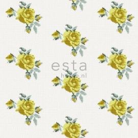 019. Rozen behang in kruissteekmotief geel