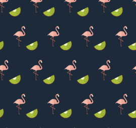 Flamingo behang met kiwi Renee donkerblauw