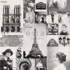 030. Esta Home Parisfoto's behang zwart/wit