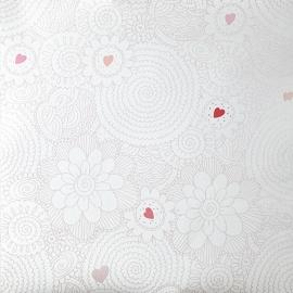 Caselio Fantasiebloemen in roze metalic met roze hartjes