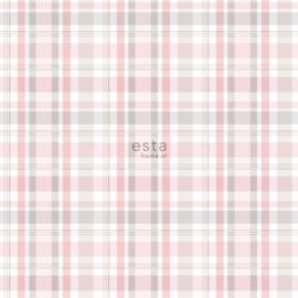 Ruit behang roze grijs wit 138953