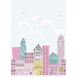 041. Londen paneel in roze geel mint