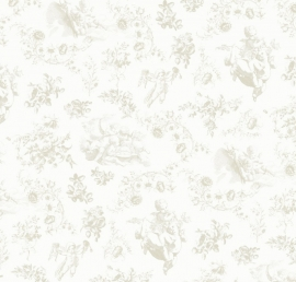 Toile de Jouy beige behang 2200502
