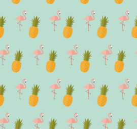 Flamingo behang met Ananas Renee helder blauw