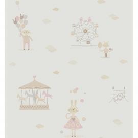 KonijntjesSTOF in roze grijs beige met ballon wolkjes reuzenrad en draaimolen
