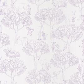 Bambi in het bos behang in creme wit lila metalic 5005
