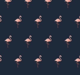 Flamingo behang Renee donker blauw