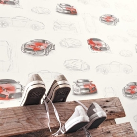 Only Boys Auto behang rood zwart