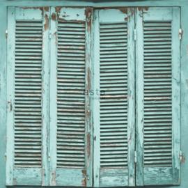 Esta Greenhouse Verweerde Louvredeuren behang vergrijsd turqouise 138884
