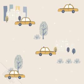 Taxibehang beige met stad