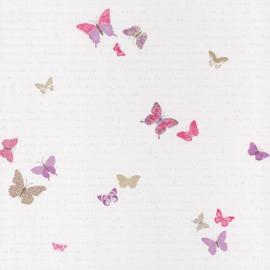 Vlinderbehang  roze paars lila beige 4050