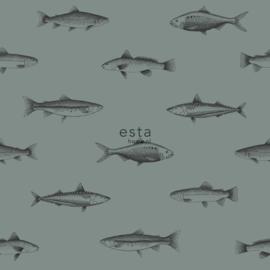 Vissen behang groen 128874