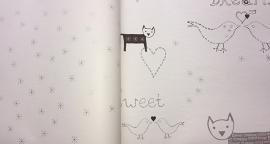 Onszelf Vogeltjesbehang met ster en hartjes zwart zilver oz 7820