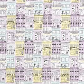 043. Londen STOF in mint lila geel
