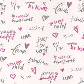Meidenbehang tekst in roze grijs 4000