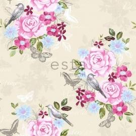 001. Esta Home Bloemenbehang crème met roze/blauw/groen bloemen
