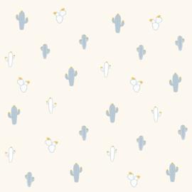 Cactusbehang lichtblauw grijs