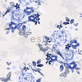 006. Bloemenbehang creme met 3 kleuren blauwe bloemen