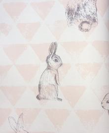 Onszelf Driehoekjesbehang met konijntjes zalmroze wit OZ 3270