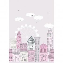 050. Londen paneel in roze grijs