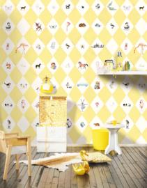 Little OZP 3789 Wieber behang met dieren geel