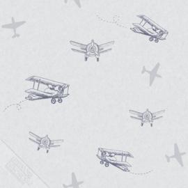 Vliegtuigen behang blauw