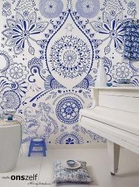 Onszelf Poster Patroon fantasie Blauw wit  OZ3734
