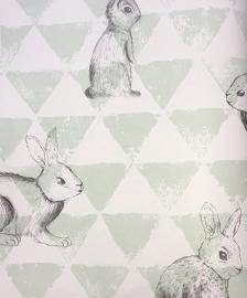 Onszelf Driehoekjesbehang met konijntjes mint wit OZ 3272