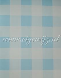 09. Behang per meter Ruit Blauw/wit
