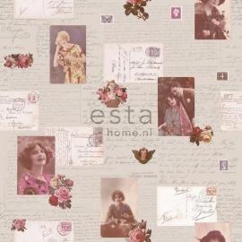032. Esta Home Franse kaarten/brieven behang beige/roze/lichtoranje