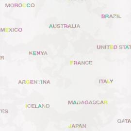 Wereldkaartbehang namen mint grijs paars 5078