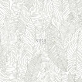 Esta Home Jungle Fever behang Getekende Bladeren 139009 beige wit