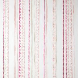 Caselio Streepjesstof in beige roze zalm