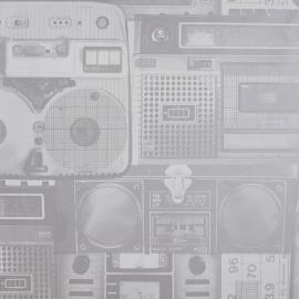 Life Oude Radio Behang grijs metalic