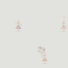 Konijntjesbehang in grijs roze beige met ballon